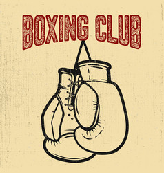Boxing club boxing gloves on white background vector