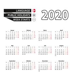 Calendar 2020 in danish language week starts on vector