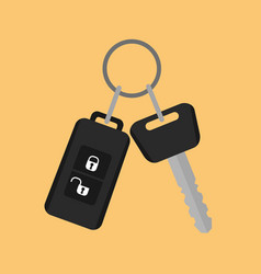 Car key with remote control icon in flat style on vector