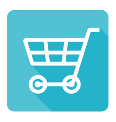 cart shopping icon on blue background flat design vector image