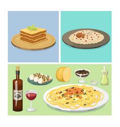 cartoon italy food cuisine delicious homemade vector image