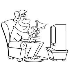 Cartoon man watching television vector image
