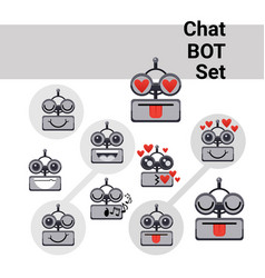 Cartoon robot face smiling cute positive emotion vector