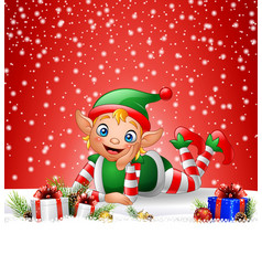 christmas background little elf laying on snow vector image
