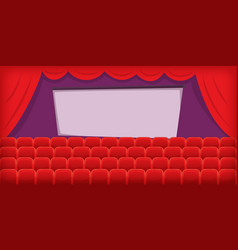 Cinema movie horizontal banner hall cartoon style vector