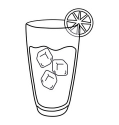 Cold alcohol drink in black and white vector