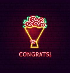 congrats neon label vector image