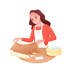 cooking food woman making dough for baking bread vector image