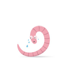 Cute crying worm with tears vector