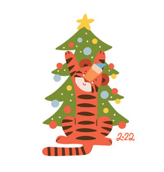 cute tiger decorating the christmas tree animal vector image