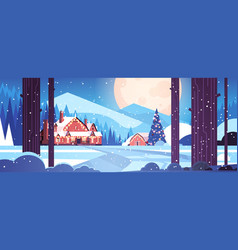 decorated houses in night forest merry christmas vector image