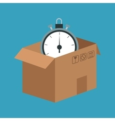 Delivery concept cardboard box clock time vector