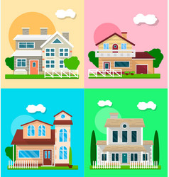 detailed graphic houses colorful set of vector image