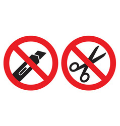 do not open with a knife or scissors sign vector image