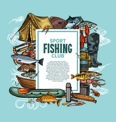 fishing poster with fish catch and fisherman tool vector image