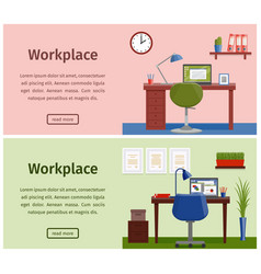 flat design workspace or home workplace background vector image