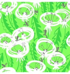 floral seamless pattern with doodle dandelions vector image