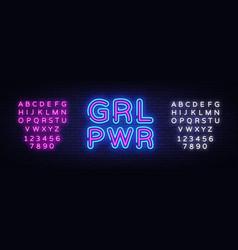 Girl power neon sign grl pwr design vector