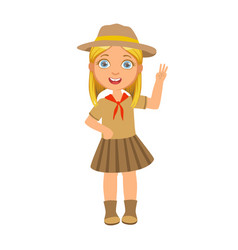 girl scout raising her hand up and showing number vector image