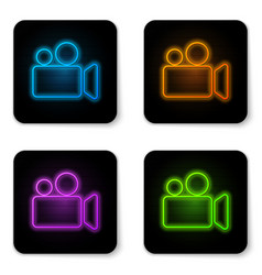 Glowing neon movie or video camera icon isolated vector