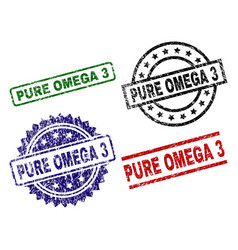 Grunge textured pure omega 3 stamp seals vector