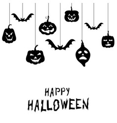 Halloween funny horror pumpkin greeting card vector