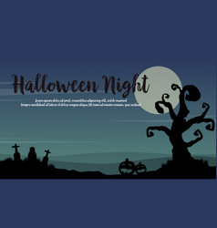 Halloween night landscape with tree vector