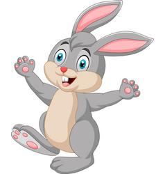 happy rabbit cartoon isolated on white background vector image
