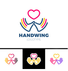 heart in hand symbol sign icon logo template for vector image