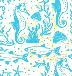 Ink hand drawn sealife seamless pattern vector