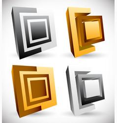 interlocking squares angular icons logos vector image