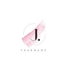 J letter logo with pastel watercolor aquarella vector