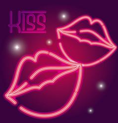kiss neon sign vector image