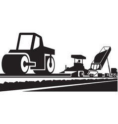 Laying an asphalt pavement on a road vector