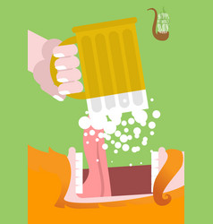 Leprechaun drinking beer happy patricks day scary vector