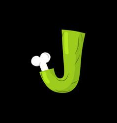 letter j zombie font monster alphabet bones and vector image vector image