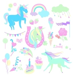 Light green and aquamarine unicorns with sweets vector