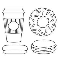 line art black and white coffee and donut set vector image