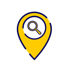 Location icon with research sign vector