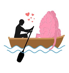 Man and brain and ride in boat Lovers of sailing vector image