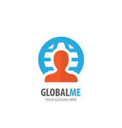 man globe logo for business company simple man vector image
