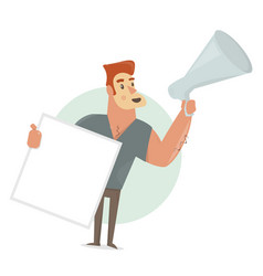 man says in a megaphone holding blank sign vector image