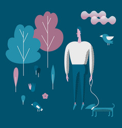 man walking and playing with his dog flat style vector image