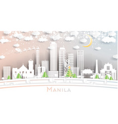 Manila philippines city skyline in paper cut vector