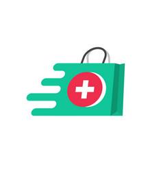 Medicine delivery logo concept idea vector