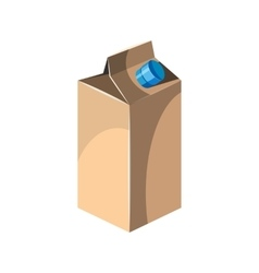 Milk packet icon cartoon style vector