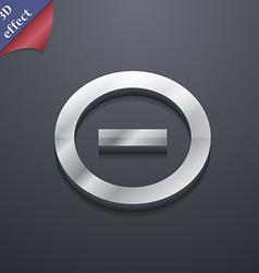 Minus Negative zoom stop icon symbol 3D style vector