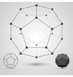 Monochrome framework of connected lines and dots vector