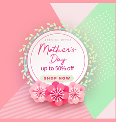mother s day card with beautiful blooming flowers vector image