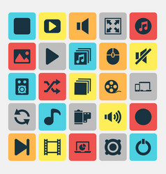 Music icons set collection of pause filmstrip vector